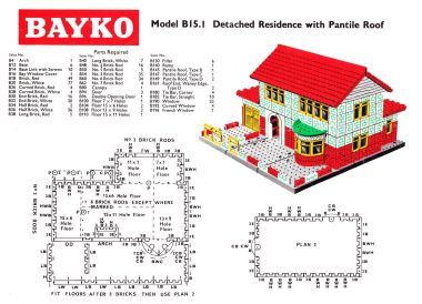 "Bayko example design, ""15.1, Detached Residence with Pantile Roof"