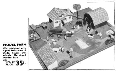 1939: Hamleys catalogue image of a model farm with Johillco figures and accessories