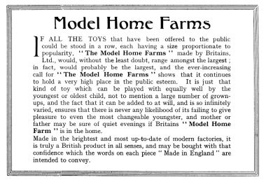 Britains' Model Home Farms range, 1940 catalogue description
