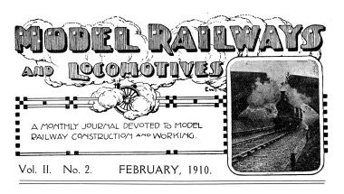 "Editorial Page artwork for ""Model Railways and Locomotives"" magazine, 1910 (signed ""EWT"")"