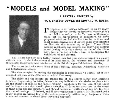 1924: Slideshow lectures given by Hobbs with W.J. Bassett-Lowke