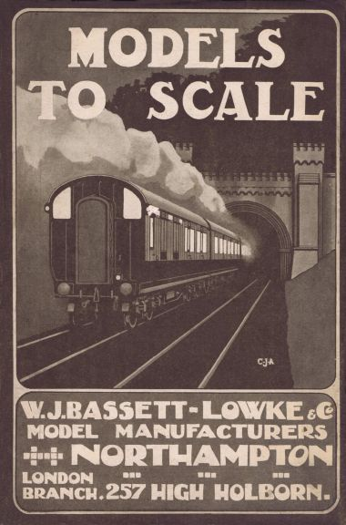 1909 Bassett-Lowke advert with artwork by Cecil J. Allen featuring the Clayton Tunnel entrance