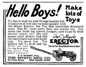 "1913: ""Hello Boys!"" – an early advert for Gilbert's Erector Outfits, still badged as a ""Mysto"" product (Mysto being Gilbert's brandname for its magic sets business"