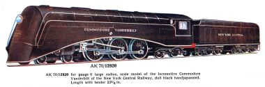 märklin model railway locomotives modelleisenbahnlokomotiven playmobil crocodile 1936 new york central railway (nycr) commodore vanderbilt locomotive, märklin ak 12920
