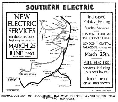 1928 or earlier, Southern electrification, map