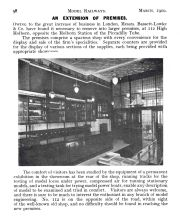 "Article on the new B-L premises at number 112, from ""Model Railway and Locomotives"" magazine, 1910"