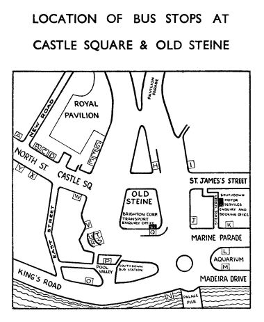 1962 map of Old Steine, showing the Southdown Bus Station