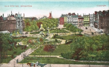 Old undated colourised postcard, apparently showing the statue in its original location, now occupied by the War Memorial