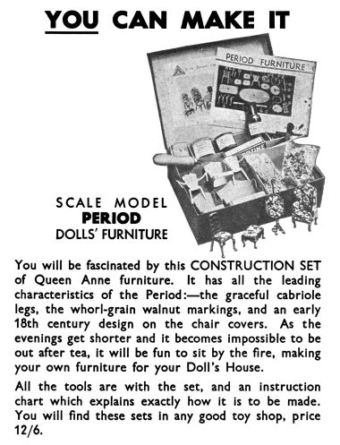 1935: Queen Anne dollhouse furniture constructional sets, Meccano Magazine