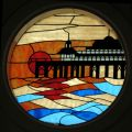 Pier at sunset (stained glass at Brighton Palace Pier).jpg