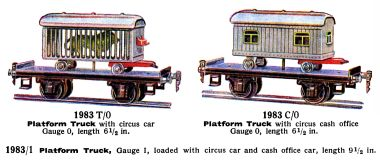 1936: Circus train cars, Märklin, Lion in Cage and Circus Cash Office