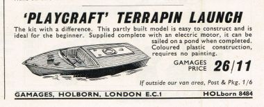 "1961: Playcraft ""Terrapin"" Launch, plastic toy boat kit with electric motor"