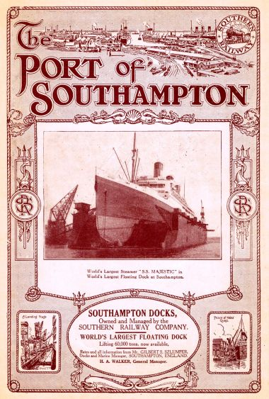 1925 advert for Southampton Docks, featuring the S.S. Majestic