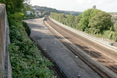 2018: Site of the Pullman Works. The siding bottom left, hugging the vegetation, appears to be a comparatively recent addition (2017? 2018?), and is now sometimes used to park trains overnight ready for use at Brighton Station the next morning