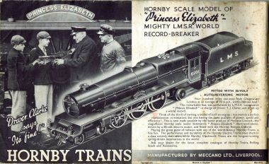 Full-page advert for the Hornby Princess Elizabeth loco, from  a Meccano No.9/No.10 manual