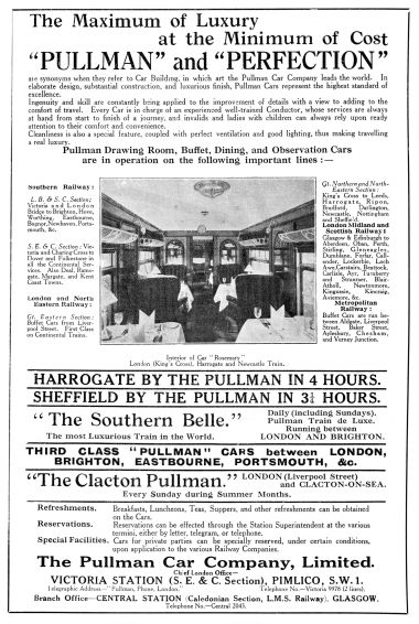 "1925 advert: ""Pullman and Perfection"""