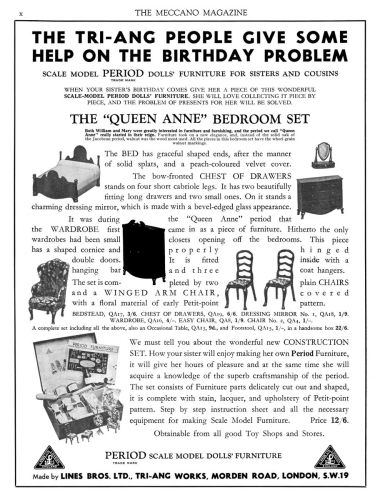 August 1935: Advert for the Queen Anne Period Bedroom sets, and Construction Sets