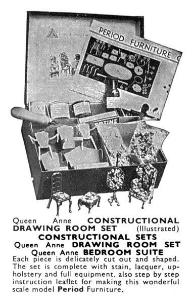 1935: Queen Anne dollhouse furniture constructional sets, Tri-ang catalogue