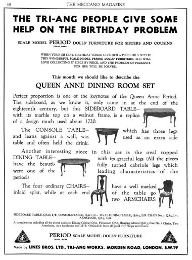 July 1935: Advert for the Queen Anne Period Dining Room Set of dollhouse furniture