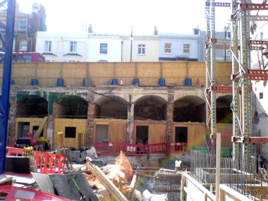 2012: Cellars below Queens Road, showing just how far the road level was raised. Photo taken during the construction of the Ibis Hotel in 2012