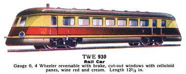 märklin model railway locomotives modelleisenbahnlokomotiven marklin trains 1936 rail car, clockwork, märklin twe 930