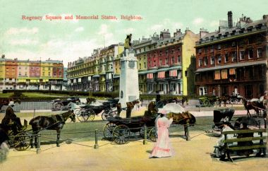 "1904-1908: ""Regency Square and Memorial Statue"". The Boer War memorial was completed in 1904, the postcard is postmarked 1908"