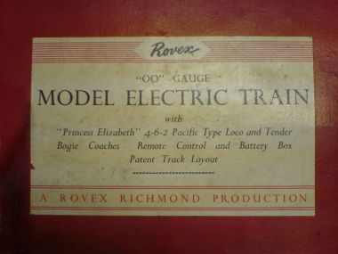 "An early Rovex box lid label: ""A Rovex Richmond Production"""