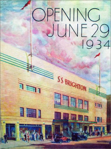1934: Poster for the S.S. Brighton opening, 29th June 1934. This would seem to be the West Street frontage, which would put St. Paul's Church directly to the right of the picture