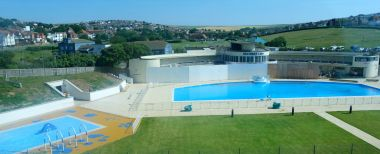 2017: Saltdean Lido, still with protective boarding while work is still underway, a few days before reopening (13th June)