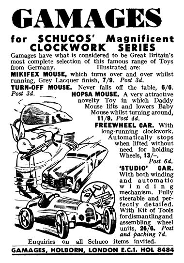 1954: Gamages for Schuco's Magnificent Clockwork Series