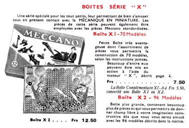 "1935: ""Serie X"", picture of the X2 set from a French Meccano catalogue"