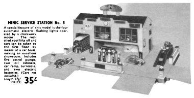 1939: Minic Service Station No.5, Hamleys catalogue