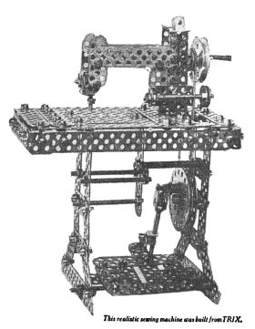 1932: A model sewing machine built using the Trix metal construction set