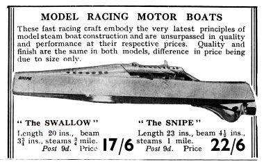 1932: Gamages catalogue entry, Bowman Snipe speedboat