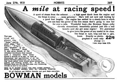 "1931: ""A mile at racing speed!"", advert, June 1931"