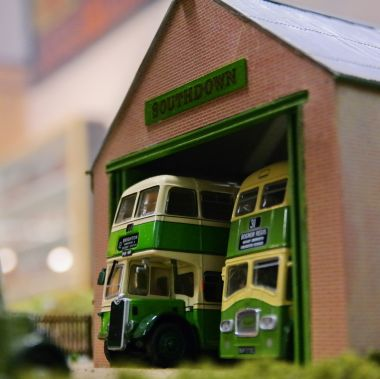 "A model of a Southdown Buses ""dormy"" bus shed on the museum's East Sussex Countryside 00-gauge model railway layout, based on the example at Amberley (Brian Bennett)"