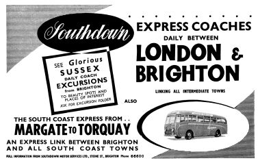 1961: advert for Southdown express buses between London and Brighton