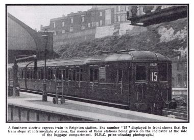 Southern Electric train at Brighton Station,  photograph published in 1936.