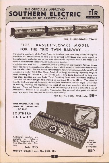 """The first Bassett-Lowke model for the Trix Twin Railway"", 1938 catalogue page"