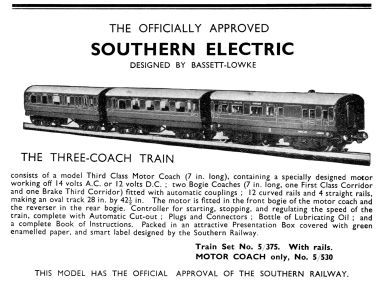 Southern electric train set, 1939 catalogue