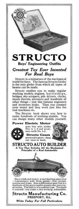 1917: advert for Structo Gears, and Auto-Builder