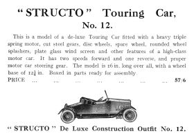 1924: Bassett-Lowke Catalogue entry for Structo Touring Car, Model No.12