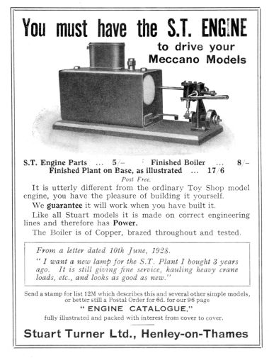 "1929: ""You must have the S.T. Engine to drive your Meccano Models"""