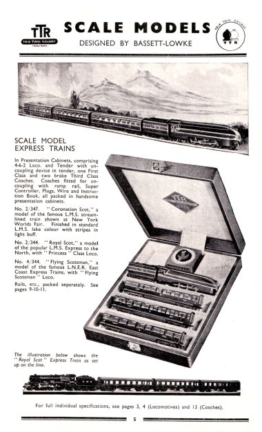 Full-page Trix Twin Railway (TTR) catalogue entry on the 1939 US Coronation Scot train set with presentation case, 2/347