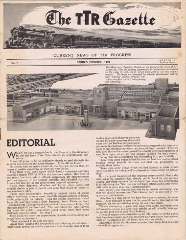 "1939: TTR Gazette, Spring 1939 front cover, with photo of a ""Many-Ways"" station"