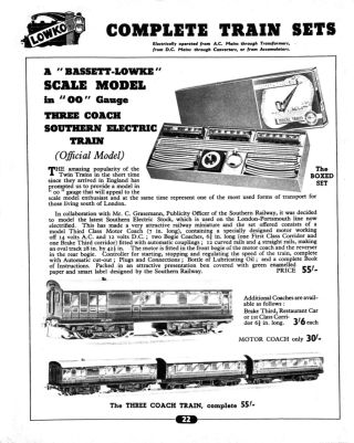 TTR catalogue page on the green Southern electric train set 5/375, circa ~1939