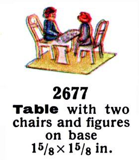 "1936: Märklin 2677, a smaller two-person version. The two-seat version has a pair of figures sitting opposite each other over a bench-style table, and unlike the four-seat version 2678, there are no green splashes at the corners of the base to suggest vegetation – the two-seat version was ""dual use"", and could be fitted inside some of the shorter Märklin coaches to provide interior detail."