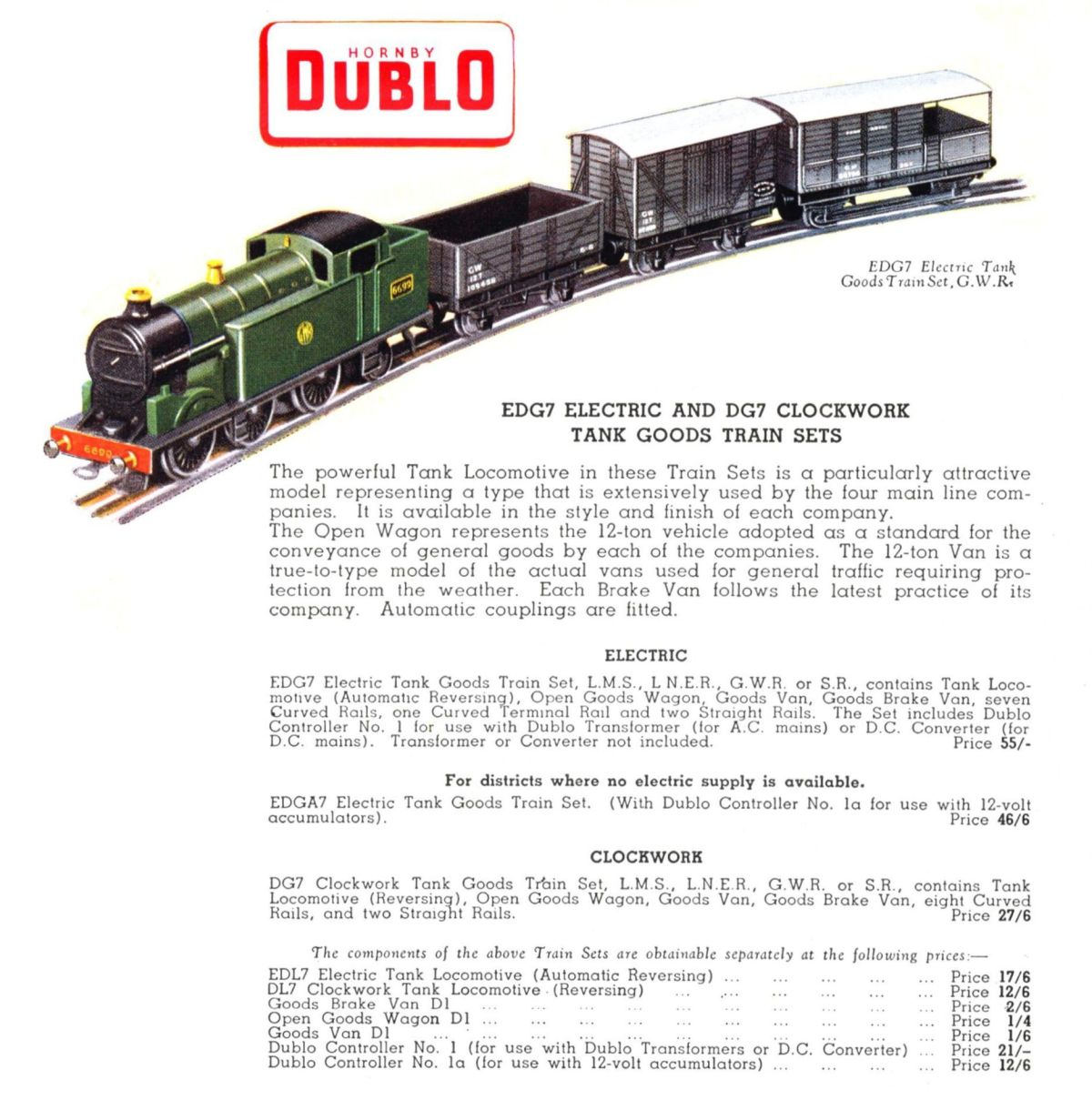 Western Bedroom Tank Toy Box Or: Goods Train Set, GWR, Tank Loco 6699 (Hornby Dublo EDG7