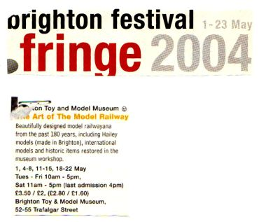 "2004 ""Fringe"" listing, ""The Art of the Model Railway"""