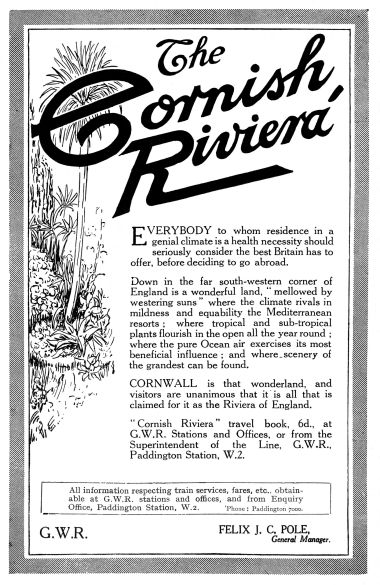 1925 advert for holidaying in Cornwall